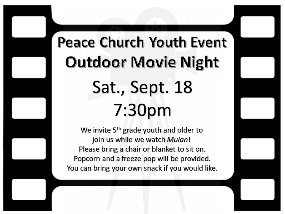 Youth Outdoor Movie Event Grades 5th - beyond
